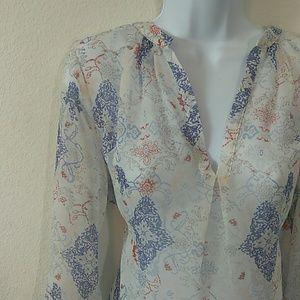 Saint Tropez West sheer white blouse size large